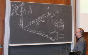 Prof. Zimpel erklärt an der Tafel Zusammenhänge auf der Fachtagung Autismus in der Uni Hamburg.